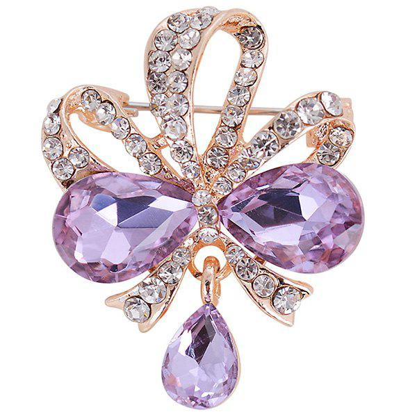 Hollow Out Rhinestone Teardrop Bowknot BroochJEWELRY<br><br>Color: PURPLE; Brooch Type: Brooch Pins; Gender: For Women; Metal Type: Alloy; Style: Trendy; Shape/Pattern: Bowknot,Floral,Water Drop; Weight: 0.0100kg; Package Contents: 1 x Brooch;