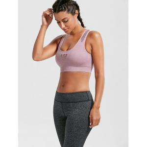 Breathable Openwork Sports Padded Bra - PINK L