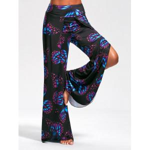 Butterfly Print High Slit Palazzo Pants - Black - L
