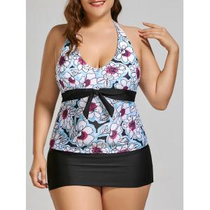 Halter Padded Plus Size Floral Bathing Suit
