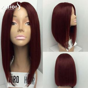 Adiors Medium Center Part Straight Bob Synthetic Wig - Wine Red - 14inch