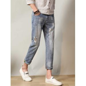 Faded Straight Leg Ripped Neuf Minutes of Jeans - Nuageux 38