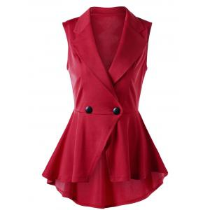 Sleeveless Notched Collar High Low Hem Blouse - Red - Xl