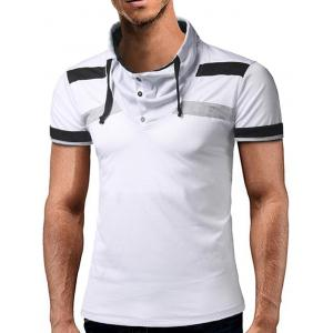 Drawstring Buttons Embellished Color Block Panel T-shirt