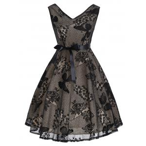 Floral Butterfly Pattern Vintage Fit and Flare Dress