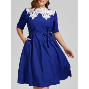 Plus Size Lace Insert Midi Modest Dress