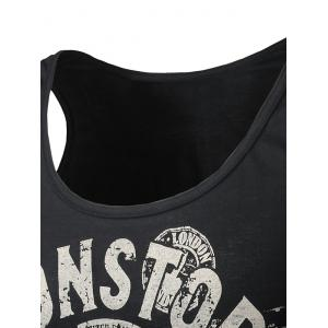 Round Neck Graphic Distressed Print Tank Top - BLACK M