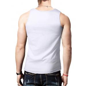 Round Neck Graphic Distressed Print Tank Top - WHITE M