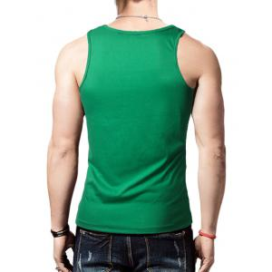 Round Neck Graphic Distressed Print Tank Top - GREEN L