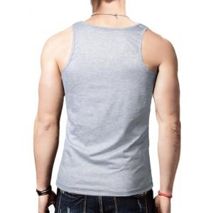 Round Neck Graphic Distressed Print Tank Top - GRAY XL