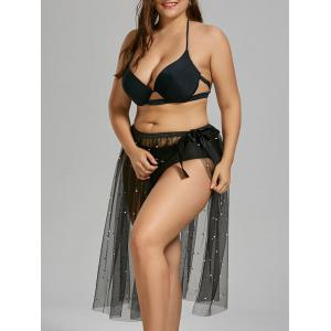 Beaded Adjustable Plus Size Sheer Mesh Cover Up Sarong - Black - One Size