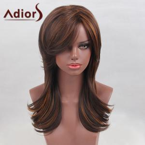 Adiors Long Oblique Bang Highlight Colormix Tail Upwards Straight Synthetic Wig
