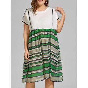 Stripe Printed Plus Size Beach Smock Dress