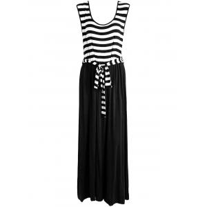 Floor Length Sleeveless Striped Plus Size Dress