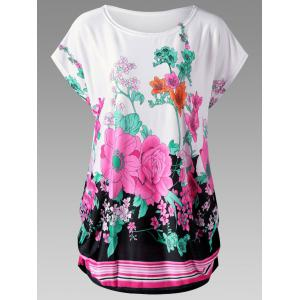 Floral Curved Hem Plus Size Baggy Top