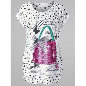 Plus Size Polka Dot Baggy T-shirt - White - One Size