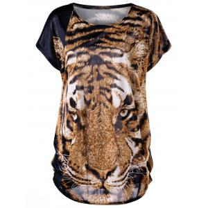 Tiger Print Plus Size Baggy Top - Tiger Print - One Size