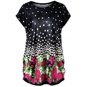 Floral and Polka Dot Plus Size Baggy Top - Black - One Size