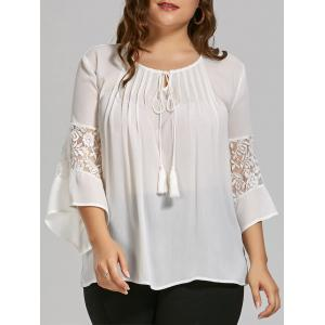 Plus Size Sheer  Bohemian Chiffon Top with Lace Trim - White - 4xl