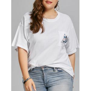 Plus Size Geometric Embroidered Simple Pocket T-shirt - White - Xl