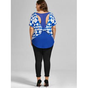 Back Twist Printed Cut Out Plus Size Top -