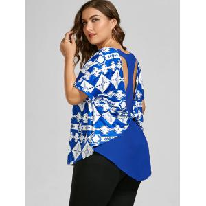 Back Twist Printed Cut Out Plus Size Top - BLUE 2XL