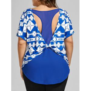 Back Twist Printed Cut Out Plus Size Top
