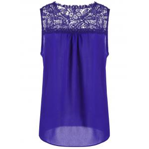 Lace Trim Chiffon Sleeveless Plus Size Top -