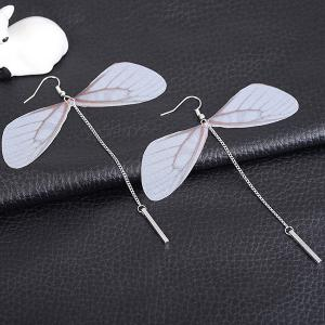 Dragonfly Wing Shape Link Chain Hook Earrings - Silver