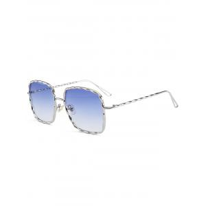 Metal Wave Design Rectangle Frame Sunglasses