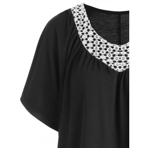 Short Sleeve Sequin Plus Size Tee - BLACK 4XL