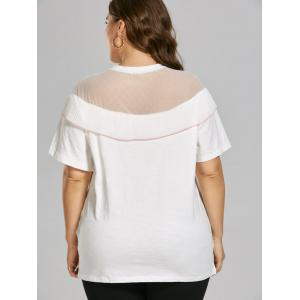 Semi Sheer Mesh Insert Plus Size Ruffle Top - WHITE 4XL