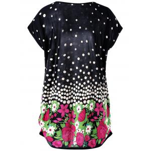 Floral and Polka Dot Plus Size Baggy Top -
