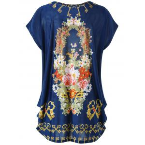 Plus Size Cap Sleeve Floral Baggy Top -