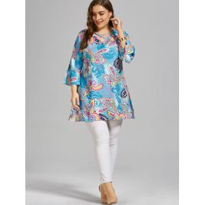 Paisley Cutout Plus Size T-shirt  with Sleeves - SKY BLUE 4020# XL