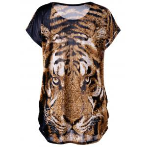 Tiger Print Plus Size Baggy Top -