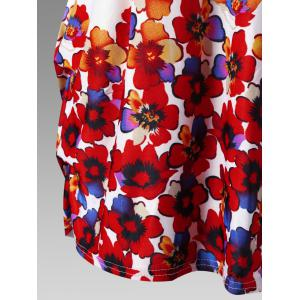 Floral Plus Size Cap Sleeve Tunic Top - RED WITH WHITE ONE SIZE