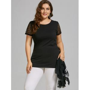 Plus Size Chiffon Tank Top and Hollow Out T-shirt -