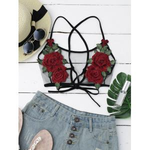 Sheer Mesh Flower Applique Crop Top - Black - L
