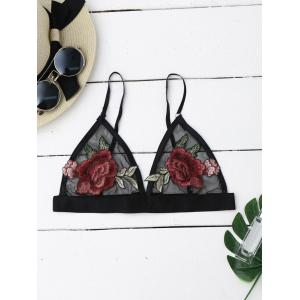 Mesh Flower Applique Bra Top - Black - L