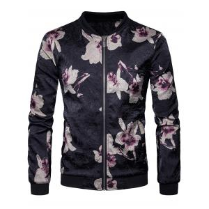 Flower Printed Zip Up Bomber Jacket