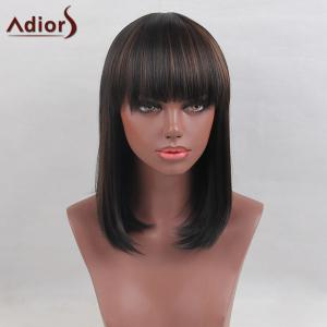 Adiors Medium Colormix Full Bang Straight Bob Synthetic Wig