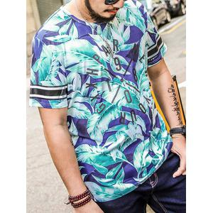 Plus Size Leaf Graphic Printed Tee