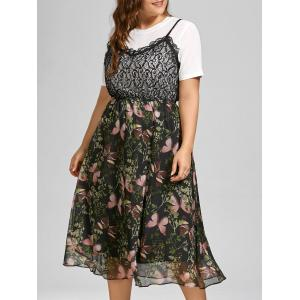 Butterfly Print Lace Trim Plus Size Slip Dress with Top