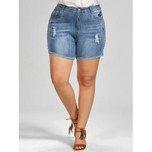 Plus Size Embroidered Mini Denim Shorts -