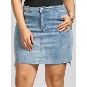 Fitted Plus Size Mini Denim Skirt