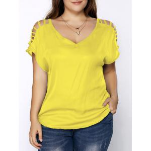 Plus Size V Neck Ripped Sleeve Tee - Lemon Yellow - Xl