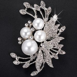 Rhinestone Inlay Floral Design Faux Pearl Brooch