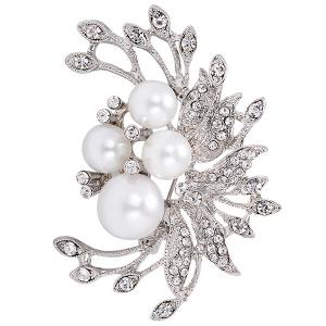 Broche Faux Pearl Floral Floral Inlay de strass - Argent