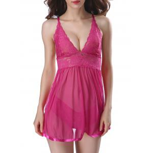 Split Back Sleepwear Mesh See Through Babydoll - Rose Madder - L